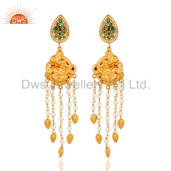 925 Sterling Silver With Gold Plated Pearl & Emerald Indian Chandelier Earrings