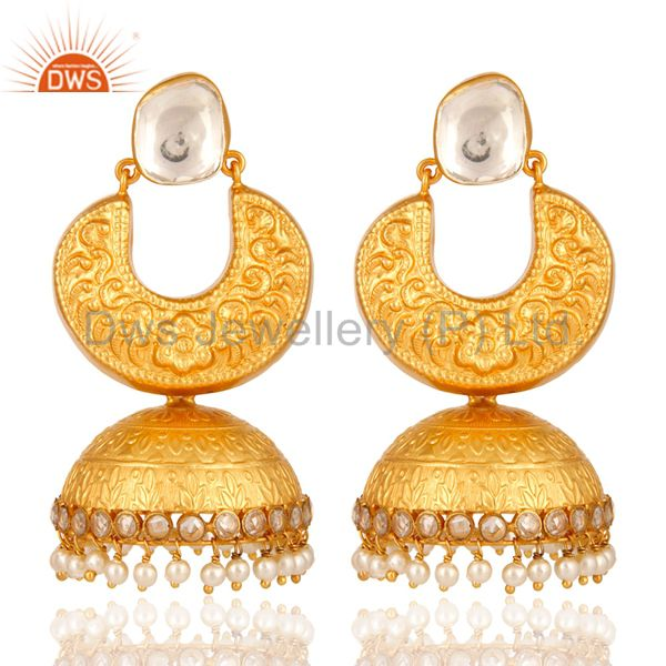 22K Gold Over Sterling Silver Indian Fashion Jhumka Earring With Pearl Beads
