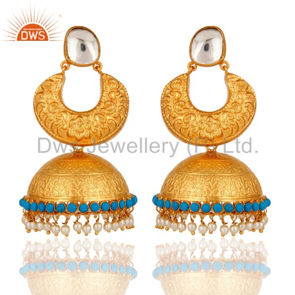 22K Gold Plated Sterling Silver Temple Jewelry Earrings With Turquoise & Pearl