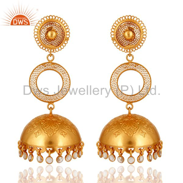 Designer Gold Plated 925 Silver Indian Ethnic Jhumka Earrings With CZ Polki