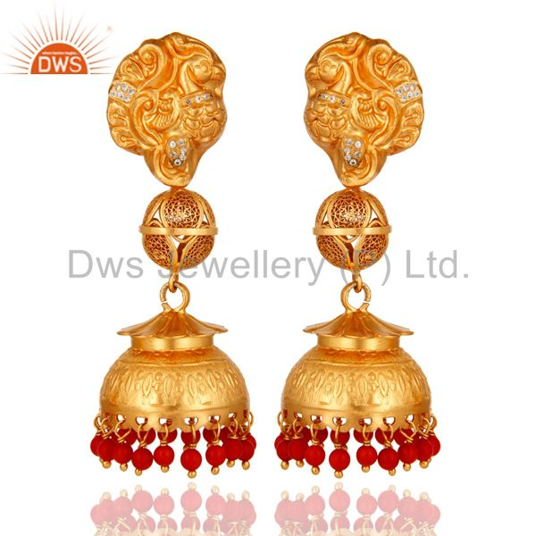 Coral Gold Plated Sterling Silver Designer Temple Dangle Earrings Gifts for Her