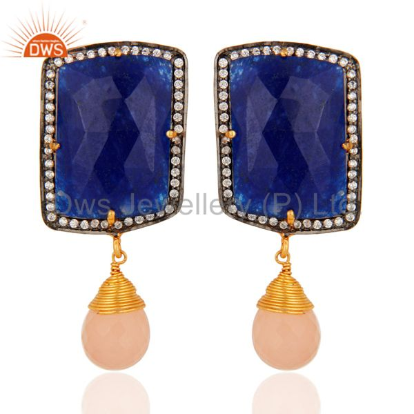 Gold Plated Sterling Silver Blue Aventurine & Pink Chalcedony Earrings With CZ