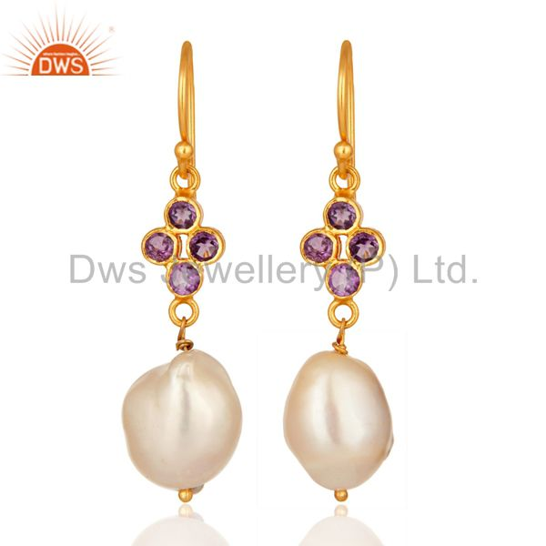 Amethyst And Natural Pearl Dangle Earrings in 14K Yellow Gold On Sterling Silver