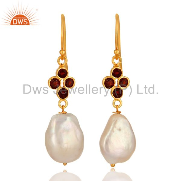 Natural Pearl And Garnet Gemstone Dangle Earrings In 18K Gold On Sterling Silver