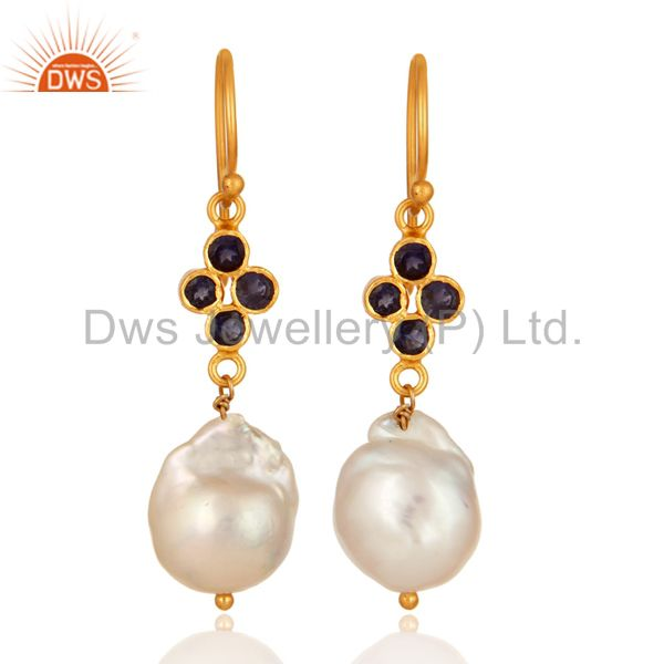Gold Plated Sterling Silver Natural Iolite And Pearl Gemstone Hook Earrings