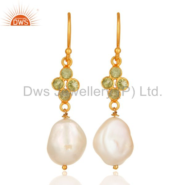 Sterling Silver Peridot And Natural Pearl Dangle Earrings - Yellow Gold Plated