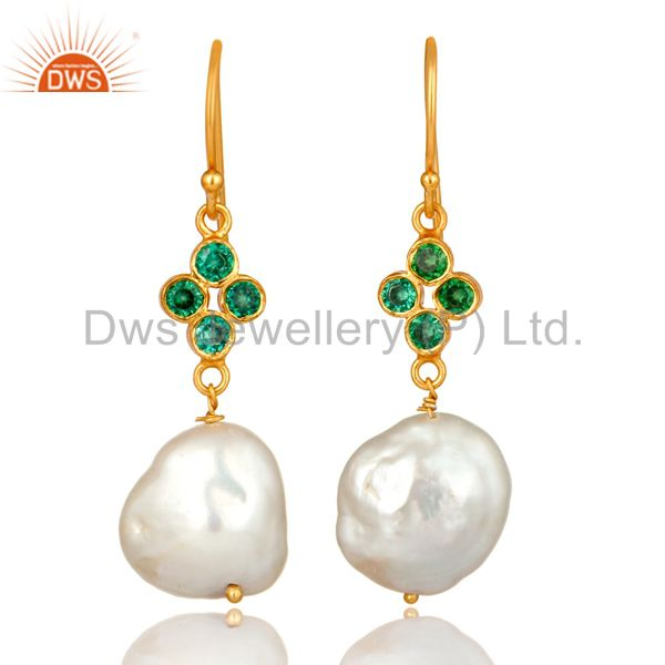 18K Yellow Gold Plated Sterling Silver Green CZ And Natural Pearl Dangle Earring