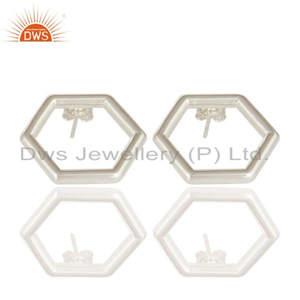 High Quality Solid Sterling Silver Womens Fashion Hexagon Open Stud Earrings