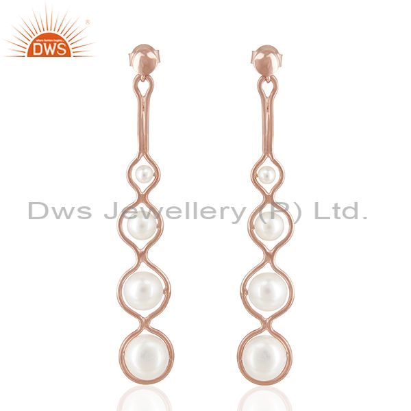 Rose Gold Plated 925 Silver Natural Pearl Dangle Earrings Wholesale Suppliers