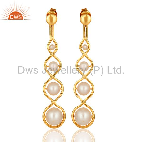 Designer 18K Yellow Gold Plated Sterling Silver Natural Pearl Dangle Earrings