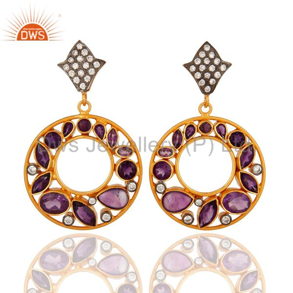 Natural Amethyst Gemstone 925 Sterling Silver Handmade Earrings - Gold Plated