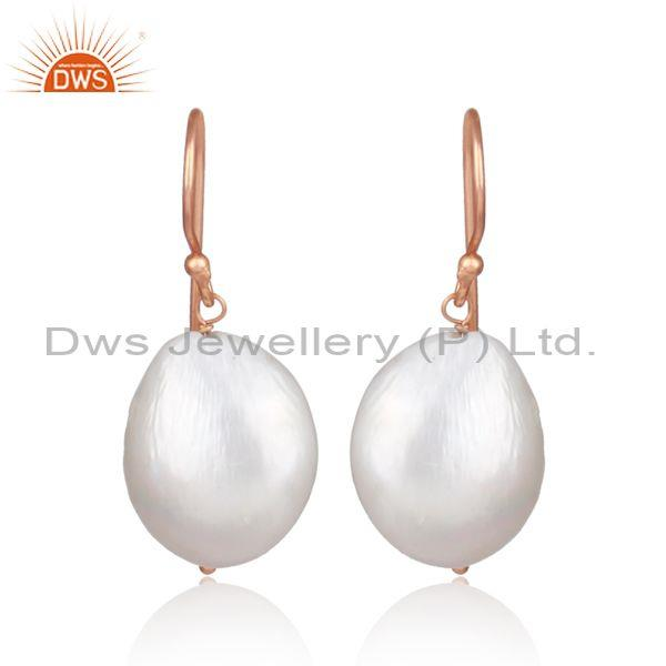 Pearl Set Rose Gold On Silver Handmade Statement Earrings