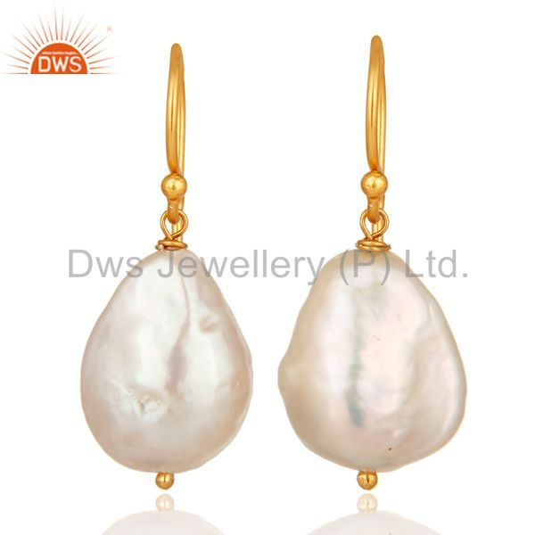 Natural white Pearl Sterling silver Wire Wrapped Dangle Earrings - Gold Plated