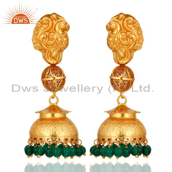18K Yellow Gold Plated Sterling Silver Green Onyx Ethnic Design Jhumka Earrings