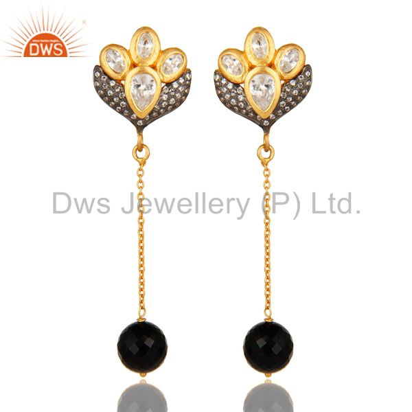 18K Gold On Sterling Silver CZ & Faceted Black Onyx Beads Dangle Chain Earrings