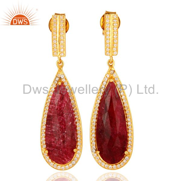 14K Gold Over Sterling Silver Dyed Ruby Red Corundum & White Topaz Drop Earrings