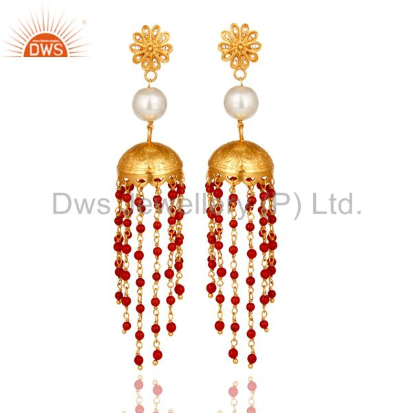22K Gold Plated Sterling Silver White Pearl & Red Coral Designer Jhumka Earrings