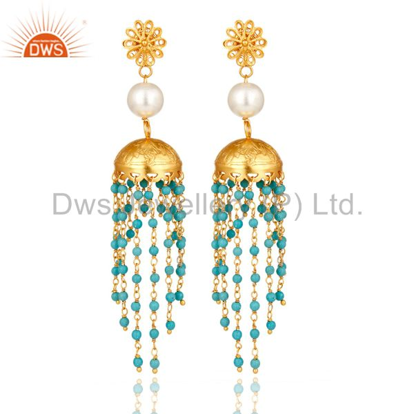 14K Yellow Gold Plated Sterling Silver Turquoise & Pearl Ethnic Fashion Earrings
