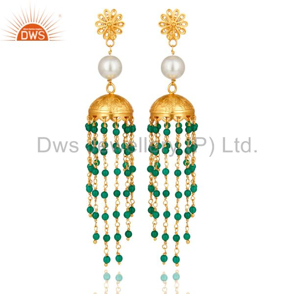 22K Gold Plated Sterling Silver Pearl And Green Onyx Designer Jhumka Earrings