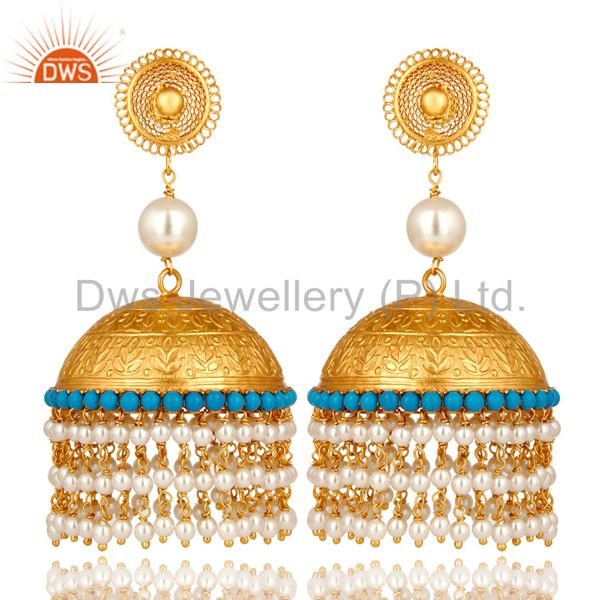 22K Yellow Gold Plated Sterling Silver Turquoise And Pearl Indian Jhumka Earring
