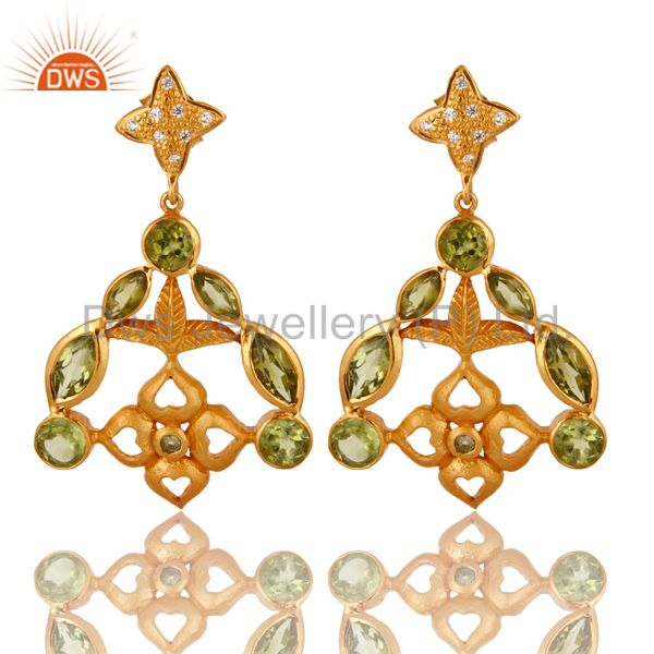925 Sterling Silver Peridot Designer Earrings - Yellow Gold Plated