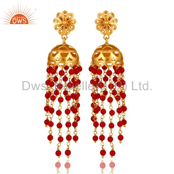 18K Yellow Gold Plated Sterling Silver Red Coral Beads Chain Chandelier Earrings
