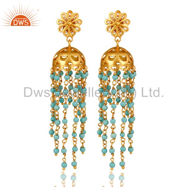 18K Yellow Gold Plated Sterling Silver Turquoise Beads Chain Chandelier Earrings