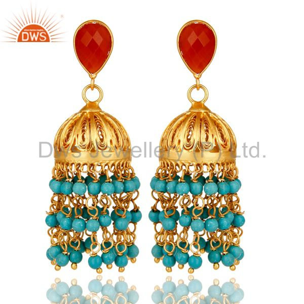 22K Yellow Gold Plated Sterling Silver Red Onyx And Turquoise Jhumka Earrings