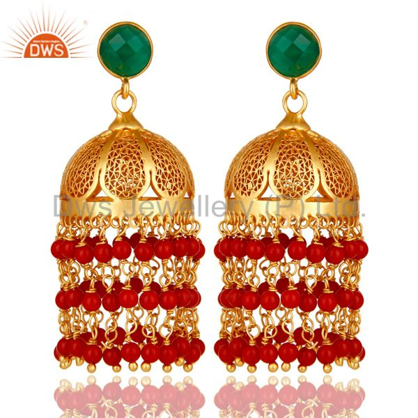 22K Yellow Gold Plated Sterling Silver Red Coral And Green Onyx Jhumka Earrings