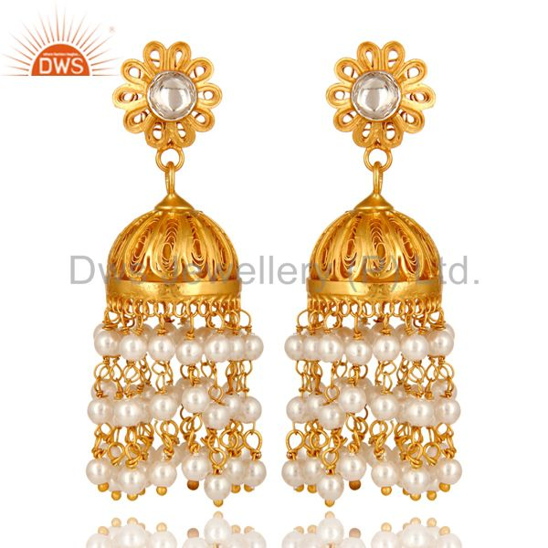 14K Gold Plated Sterling Silver Pearl Beads And Crystal Quartz Jhumka Earrings
