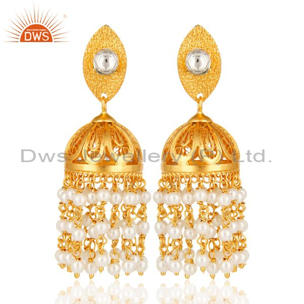Shiny 18K Yellow Gold Plated Natural White Pearl Indian Jhumka Dangle Earrings