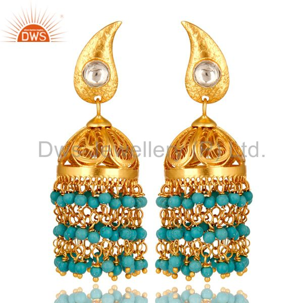 14K Gold Plated Sterling Silver Turquoise Beads And Crystal Polki Jhumka Earring