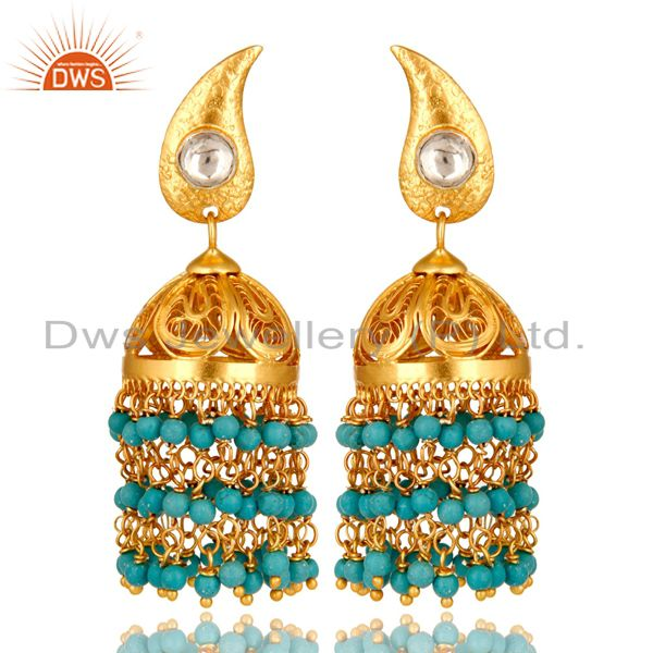 22K Yellow Gold Plated Sterling Silver Turquoise And CZ Polki Jhumka Earrings