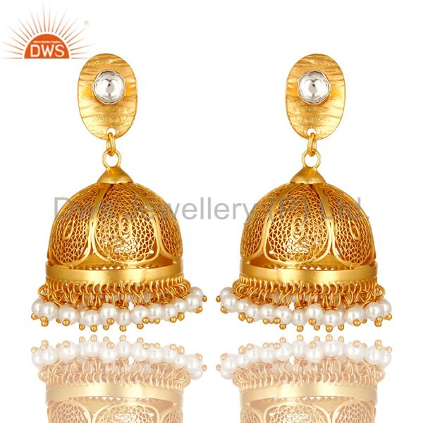 22K Yellow Gold Over Sterling Silver CZ Polki And Pearl Designer Jhumka Earrings
