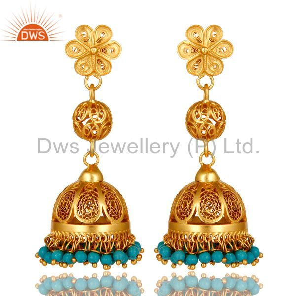 22K Yellow Gold Plated Sterling Silver Turquoise Ethnic Designer Jhumka Earrings