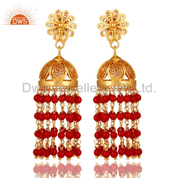 14K Gold Plated Sterling Silver Red Coral Traditional Designer Earrings