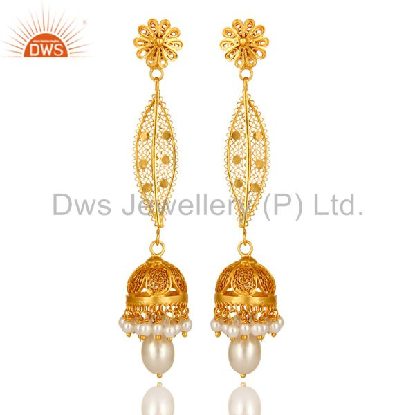 Shiny 14K Yellow Gold Plated Sterling Silver Pearl Long Dangle Jhumka Earrings
