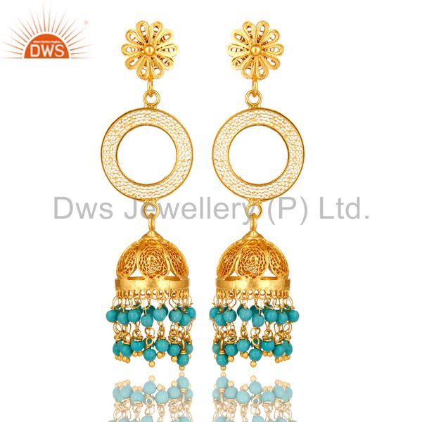 14K Yellow Gold Plated Sterling Silver Turquoise Filigree Jhumka Dangle Earring