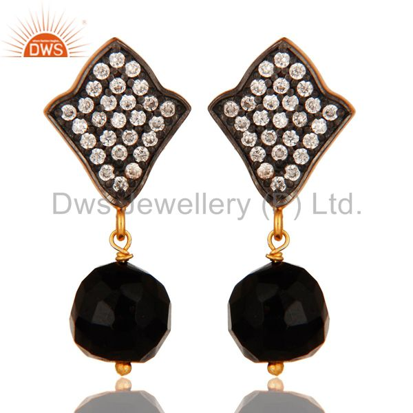 18K Yellow Gold Plated Sterling Silver Black Onyx & CZ Gemstone Dangle Earrings