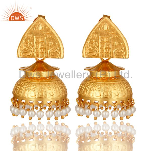 14K Gold Plated Sterling Silver Natural Pearl South Indian Jhumka Earrings