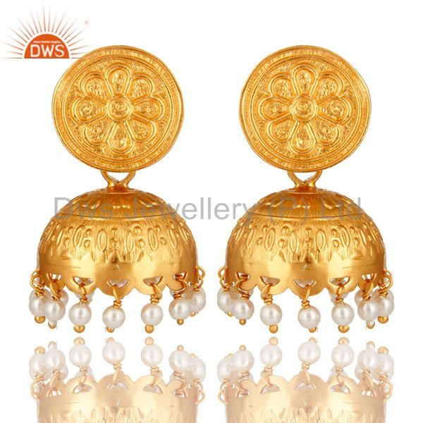 Handmade Sterling Silver Natural Pearl Traditional Jhumka Earrings - Gold Plated