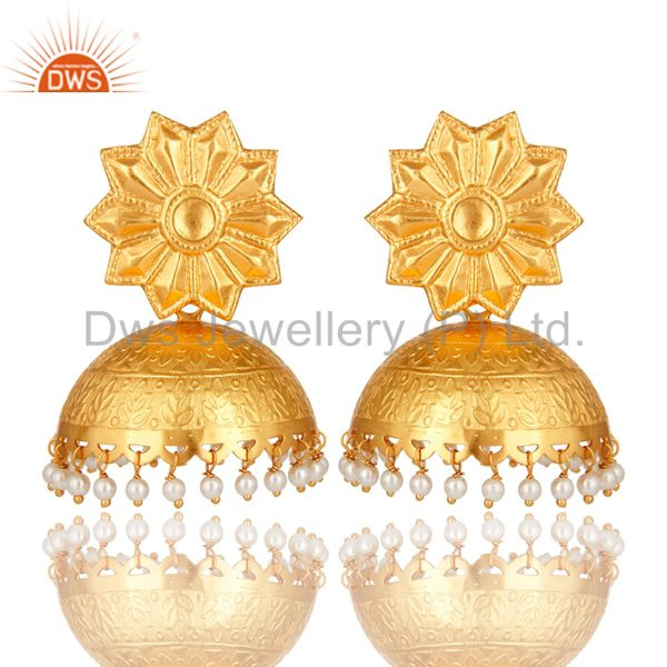 Beautiful Hand Crafted Sterling Silver Pearl Jhumka Earrings With Gold Plated