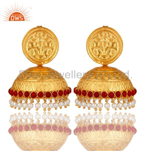 Red Coral And Pearl Traditional Style Jhumka Earrings Made In 18K Gold On Silver