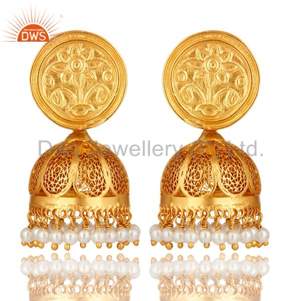 Natural Pearl 22K Gold Plated Sterling Silver Filigree Jhumka Temple Earrings