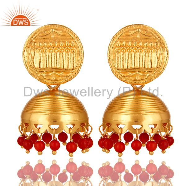 22K Yellow Gold Plated Sterling Silver Red Coral Unique Design Jhumka Earrings