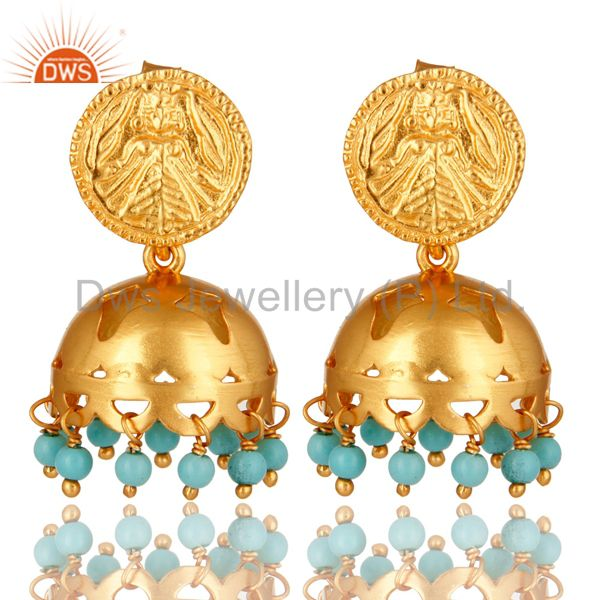 22K Yellow Gold Plated Sterling Silver Turquoise Gemstone Beads Jhumka Earrings