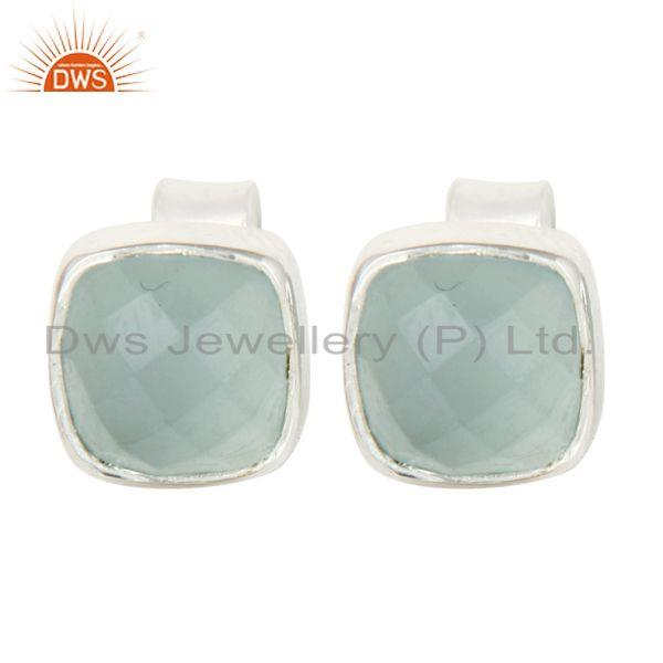 925 Sterling Silver Aqua Glass Cushion Cut Womens Fashion Stud Earrings