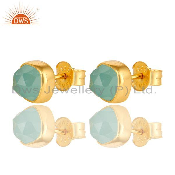Dyed Aqua Chalcedony Gemstone Stud Earrings In 14K Gold Over Sterling Silver