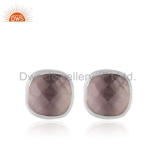 Amethyst Birthstone Solid 925 Silver Handmade Stud Earrings Wholesale Supplier