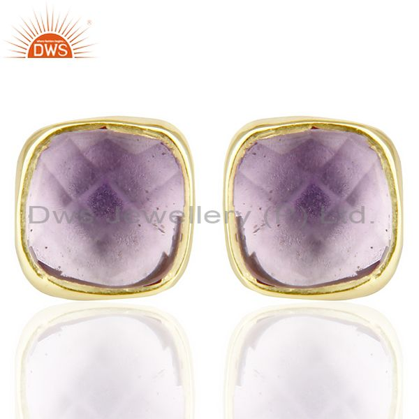 Natural Amethyst Cushion Rose Cut Small 14 K gold Plated Stud Earring